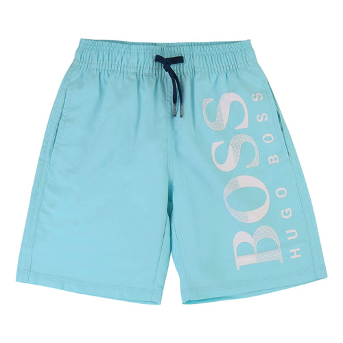 BOSS Boys White Logo Swim Shorts