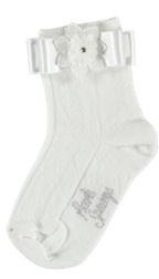 Piccola Speranza Ivory Socks with Beaked Lace