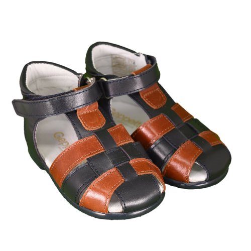 Geppetto's Baby Boy Navy/Brown Leather Sandals