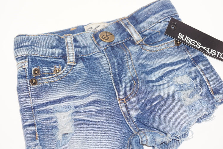 Susiescustom Girl Cutoff Denim Shorts Light Wash