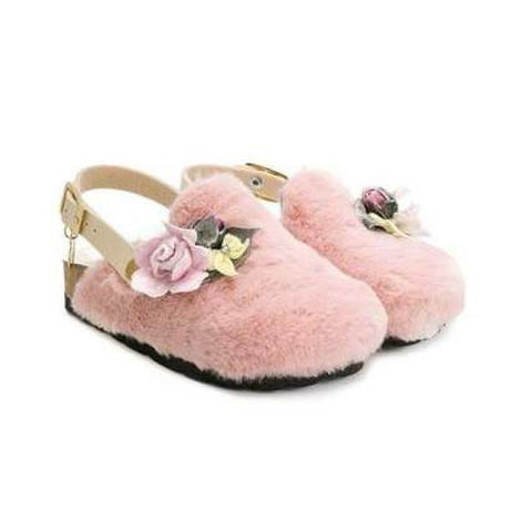 Monnalisa Girls Furry Flower Sandals