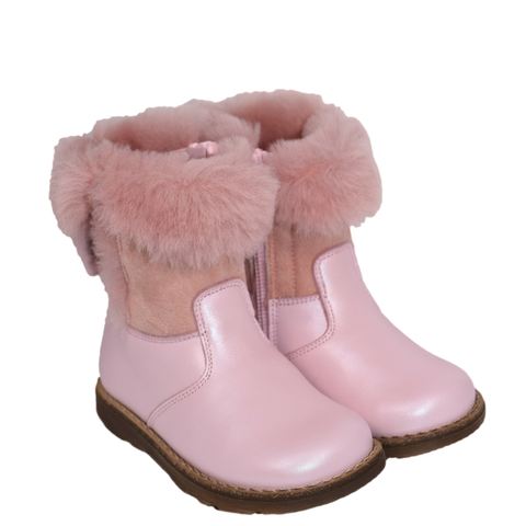 Monnalisa Girls Leather & Fur Boots