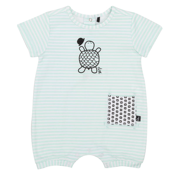 Deux Par Deux Baby Boy Striped Turtle Romper