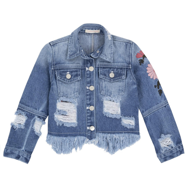 Deux Par Deux Girls Embroidered Denim Jacket