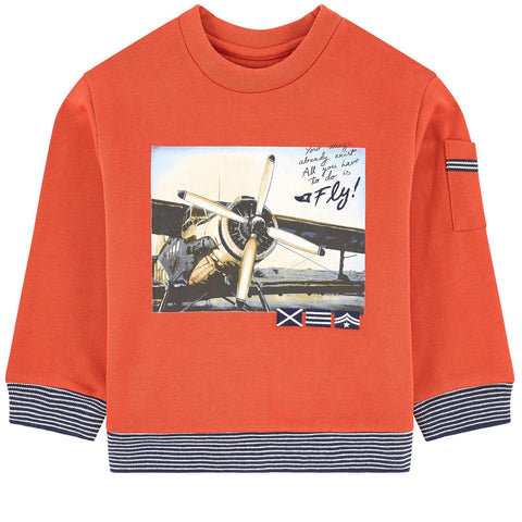 Mayoral Boys Orange Cotton Graphic Sweatshirt