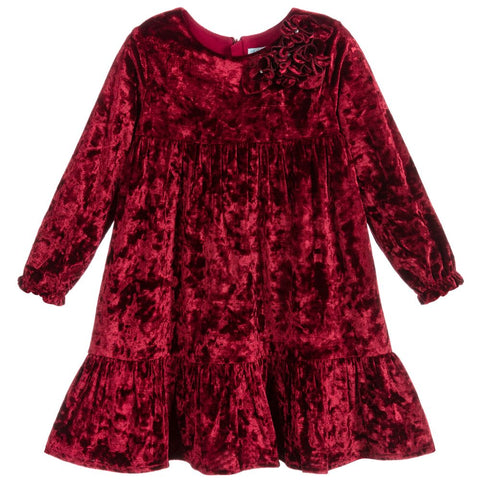 Abel & Lula Girls Burgundy Velvet Dress