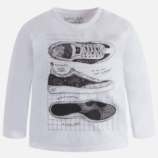 Mayoral Boys White Long Sleeve T-shirt with Shoe Print