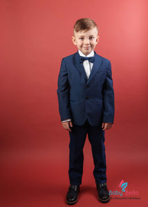 Mamemi Boys структурированы Suit Paris Blue Birdseye