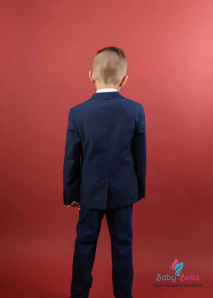 Mamemi Boys structured Suit Paris Blue Birdseye