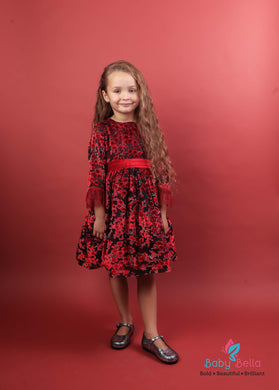 Piccola Speranza Velvet Italian Dress Red
