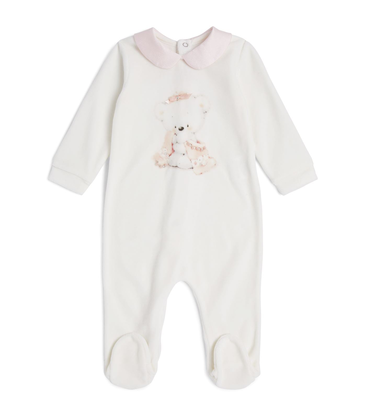 Bimbalo Girl Bear Print Velour All-In-One