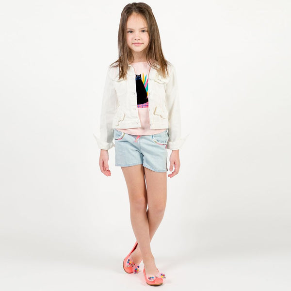 Billieblush Girls Ivory Cotton Bow Jacket
