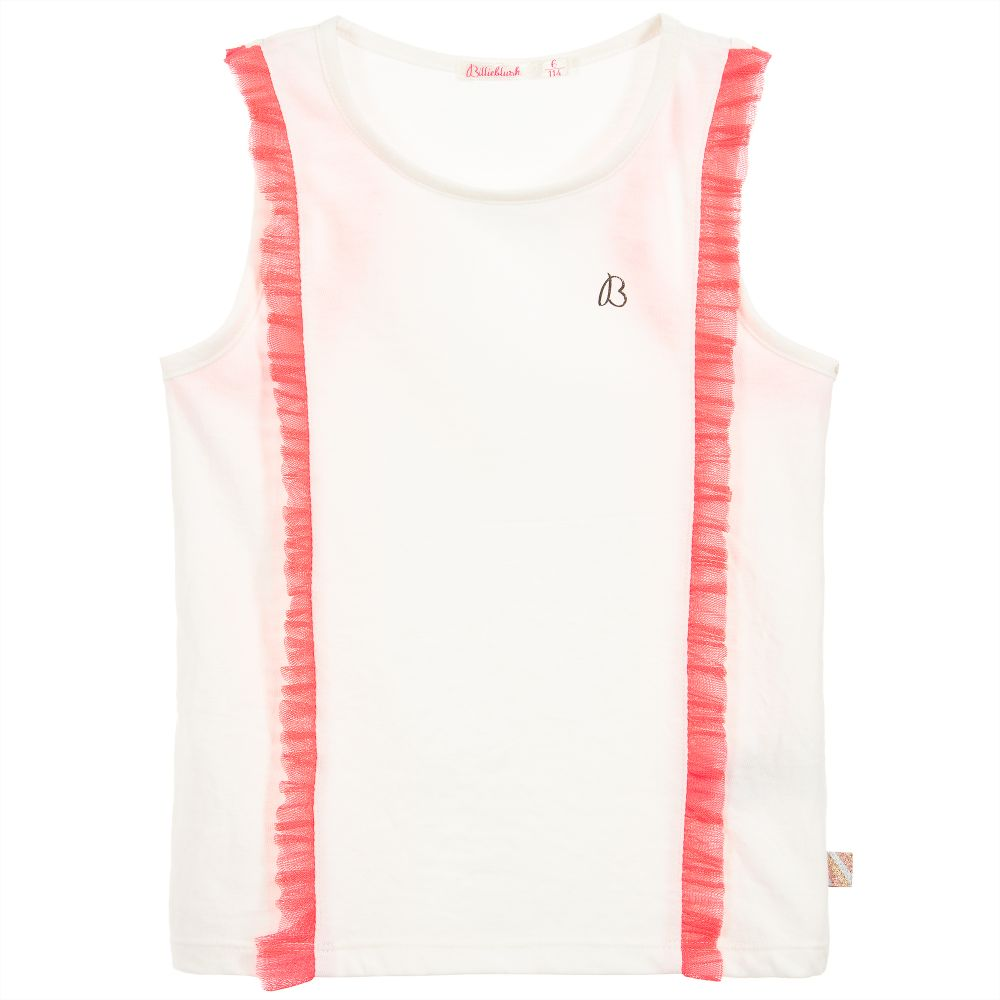 Billieblush Girls Ivory Ruffle T-Shirt
