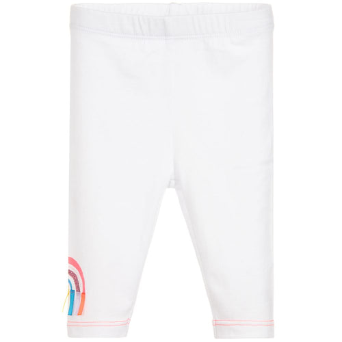 Billieblush Girls White Cotton Rainbow Leggings