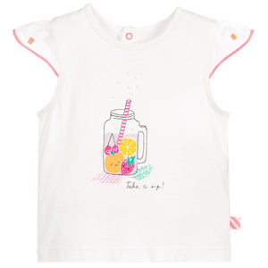 Billieblush Girls White Cotton Fruit Drink T-Shirt