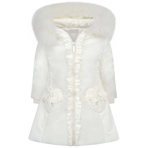 Bimbalo Ivory Padded Fur Trim Coat