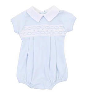 Magnolia Baby Cora and Cole's Smocked Blue Collared Boy Bubble