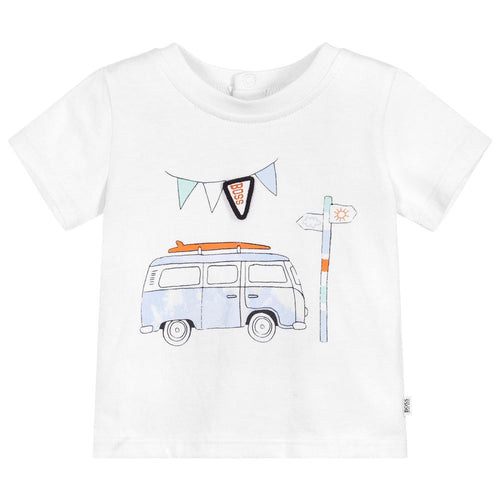 BOSS Baby Boys White Cotton Car T-Shirt