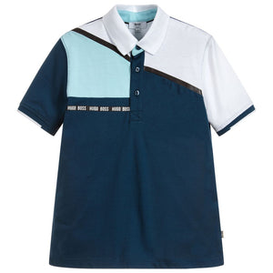 BOSS Boys Blue Cotton Polo Shirt