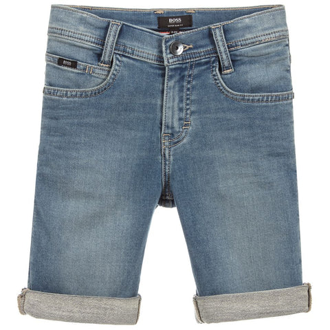 BOSS Boys Blue Denim Shorts