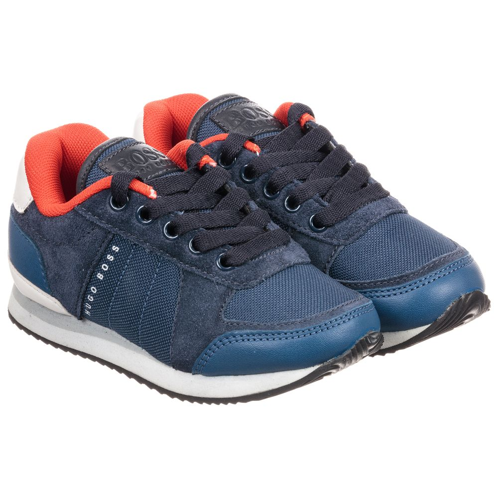 BOSS Boys Leather & Canvas Trainers