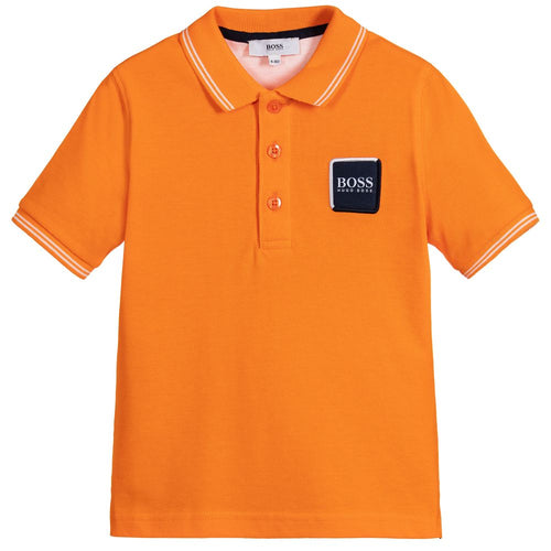 BOSS Boys Orange Cotton Polo Shirt