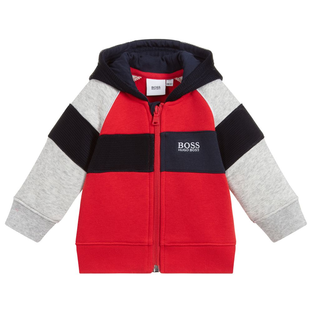 BOSS Kidswear Boys Red Cotton Zip-Up Top