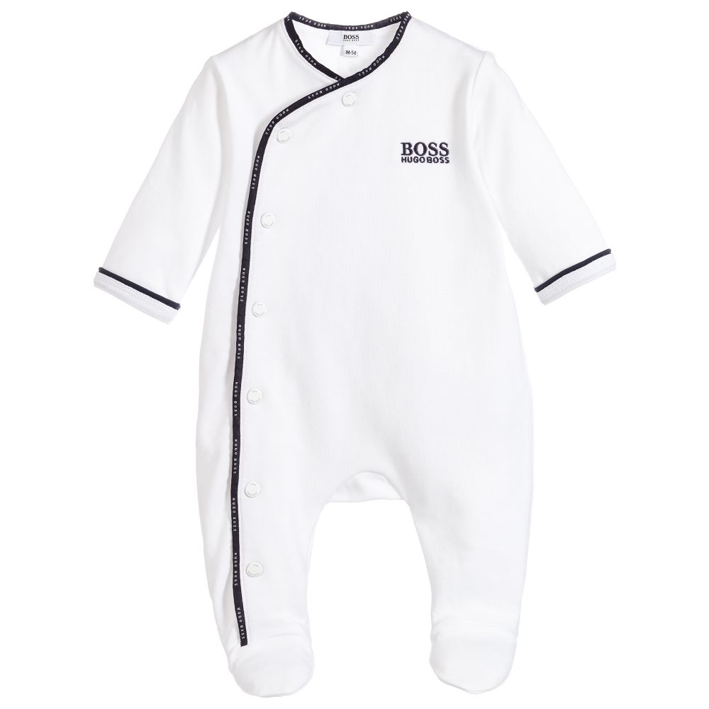 HUGO BOSS Boys White Cotton Babygrow