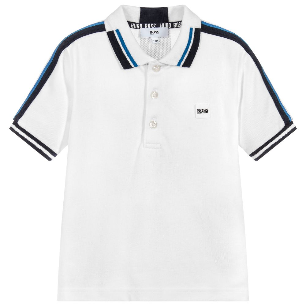 HUGO BOSS Boys White Cotton Polo Shirt