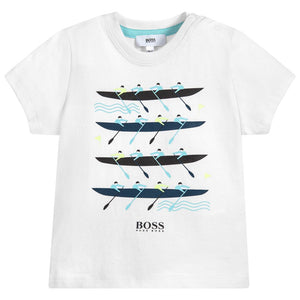 HUGO BOSS Boys White Cotton Boat T-Shirt