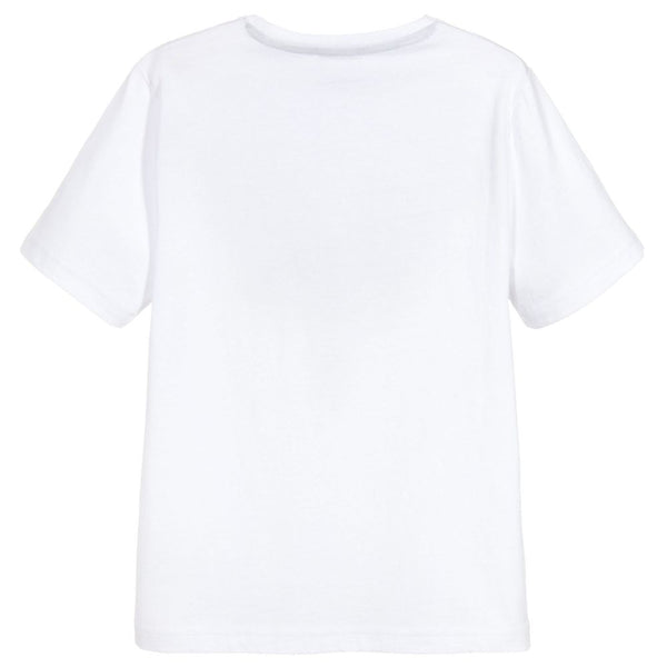 HUGO BOSS Boys White Cotton Logo T-Shirt