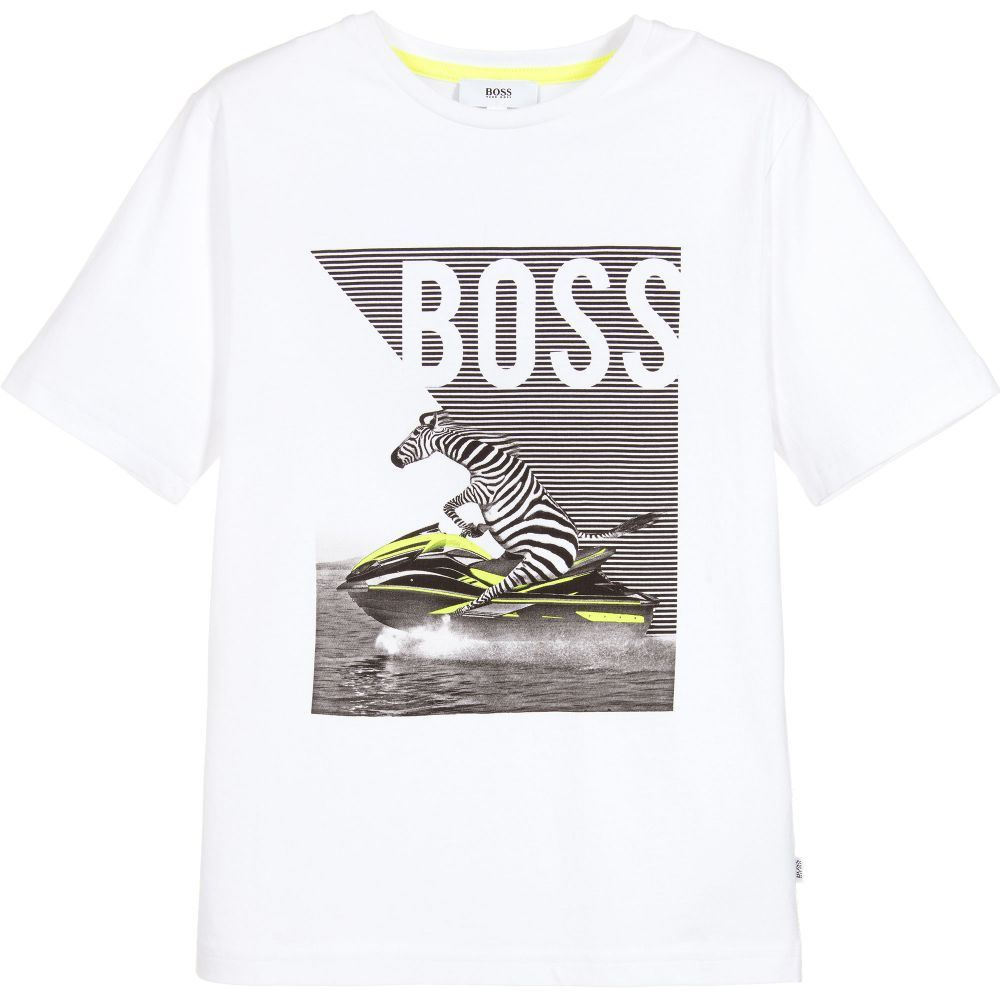 HUGO BOSS Boys White Cotton Zebra T-Shirt