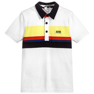 BOSS Boys White Piqué Polo Shirt