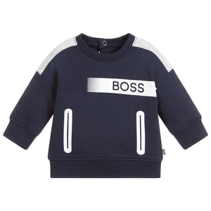 BOSS Kidswear Blue Cotton Logo Sweatshirt