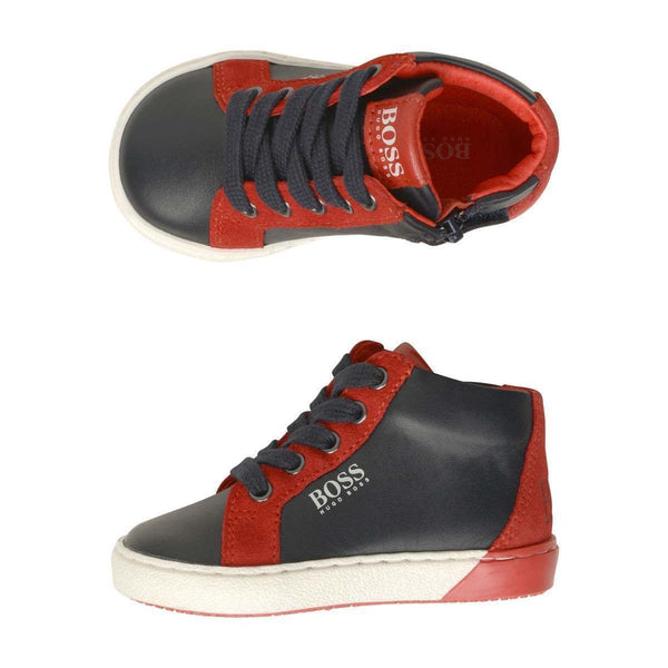 BOSS Kids Leather High-Top Trainers