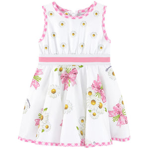 Monnalisa Pink & White Gingham Daisy Dress