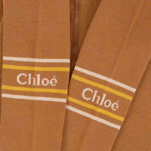 Chloe Girls Brown Knitted Tights