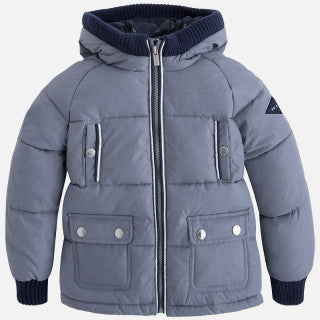 Mayoral Boy Gray Flat-Woven Padded Coat