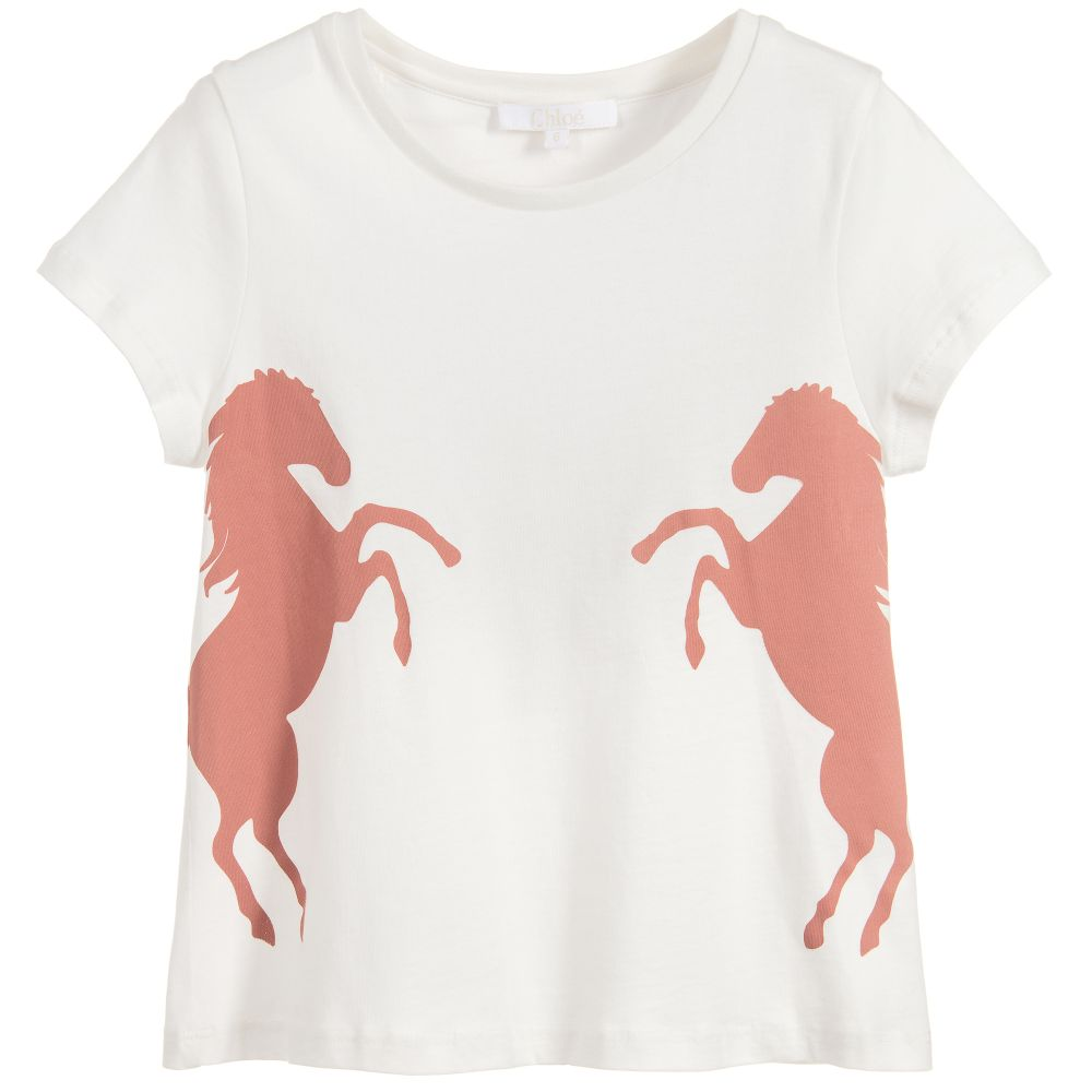 Chloé Girls Ivory Cotton Horse T-Shirt