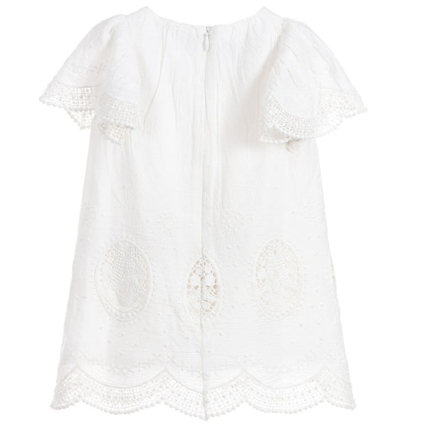 Chloé Girls Off-White Cotton Voile Dress