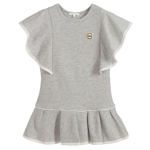 Chloé Grey Cotton Logo Dress