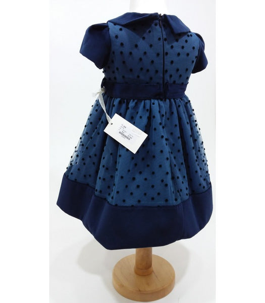 Bimbalo Blue Polka Dot Kleid mit Navy Velvet Trim