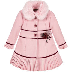 Piccola Speranza Girls Pink Coat with Fur
