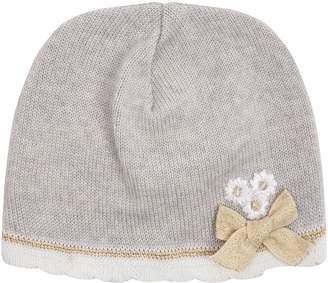 Bimbalo Floral and Ribbon Appliqué Soft Wool Hat