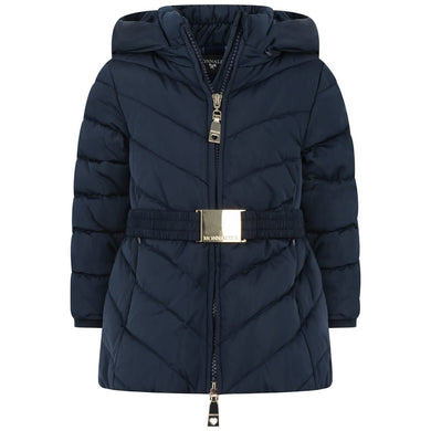 Monnalisa Baby Girls Navy Down Coat con pon pon pelosi