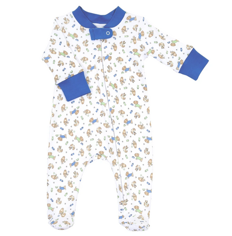 Magnolia Baby Blue Dog Days Printed Zipped Footie