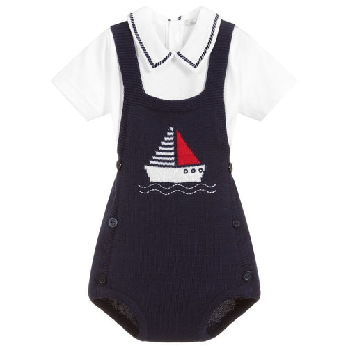 Dr. Kid Baby Boys Cotton Knit Sailboat Overalls