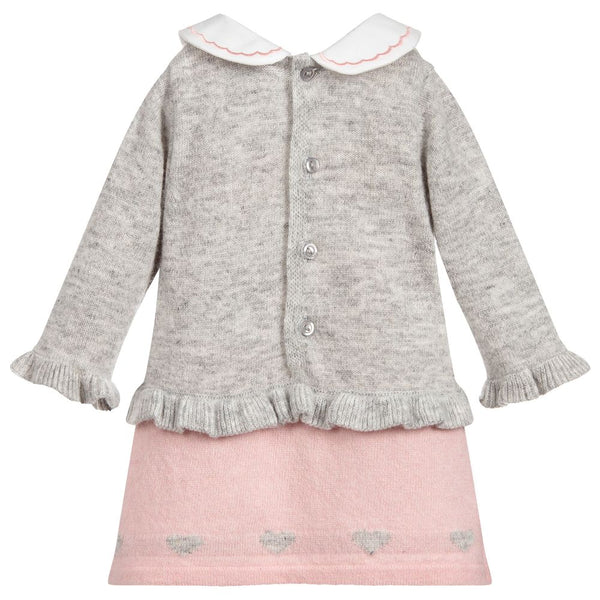 Dr. Kid Girly White Bear Knitted Wool Dress