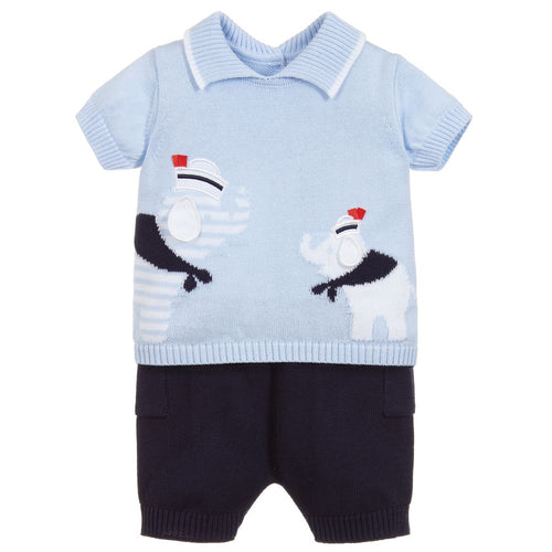 Dr. Kid Blue Cotton Knit Shorts Set
