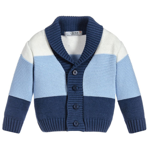 Dr. Kid Boys Color Block Button Down Wool Cardigan